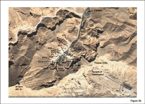 Fig 2(b) Schematic location of royal tombs, Valley of Kings. Sources: Google Earth and Theban Mapping Project.