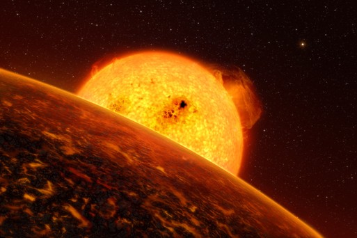 Artist's impression of exoplanet COROT 7b. Image courtesy, European Southern Observatory. Artist: L. Calcada