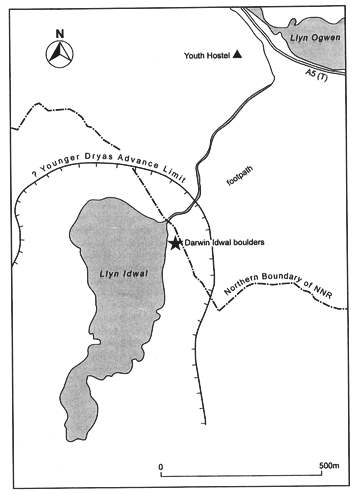Fig 1. Map showing the location of the 'Darwin Idwal boulders' within the Cwm Idwal National Nature Reserve.