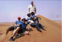 Members of IUGS-GEM at the summit of the highest sand dune at Sossusvlei, Namibia.