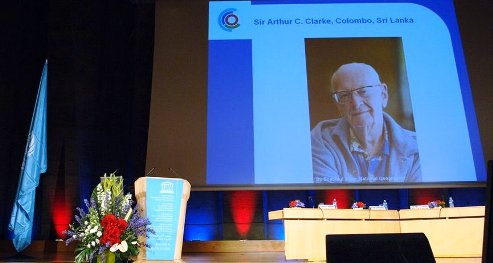 Sir Arthur C Clarke makes his last public statement by audio tape at the launch of the International Year of Planet Earth. He died a few weeks later.