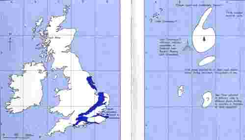 3. Palaeogeography of Britain and Ireland around 80 million years ago (right), with areas of exposure of Late Cretaceous rocks shown (left) for reference. This sketch was made in the mid-1970s.