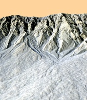 A 3d representation of gullies in Galap crater on Mars.  Photo credit: NASA/JPL/UofA/OpenUni