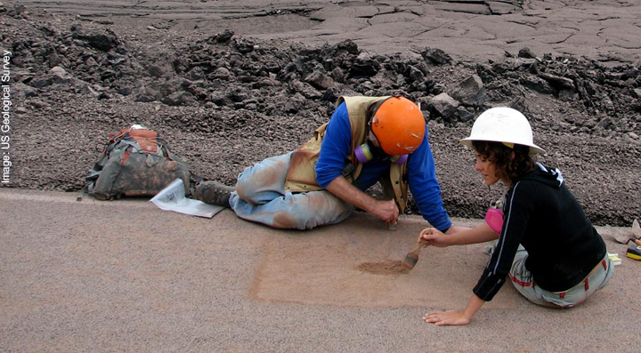 Geologists carrying out fieldwork