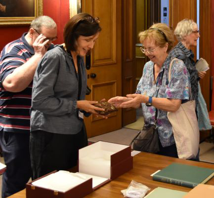 In the Council Room, an archive display included the chance to hold the Society's meteorite