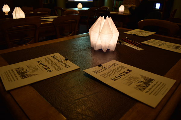 The examination papers. Custom-made lamps added to the Victorian atmosphere