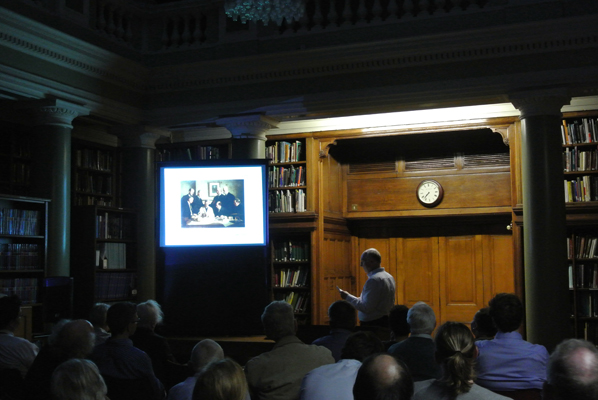 David Bate shows the Society's famous painting 'Discussion on the Piltdown Skull'